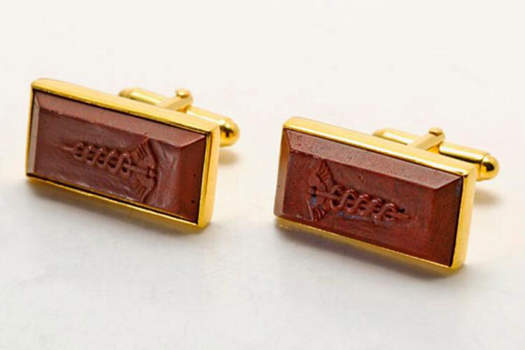Doctor Cufflinks Red Jasper Caduceus Rectangular Swivel Gold Plated Sterling Silver 925