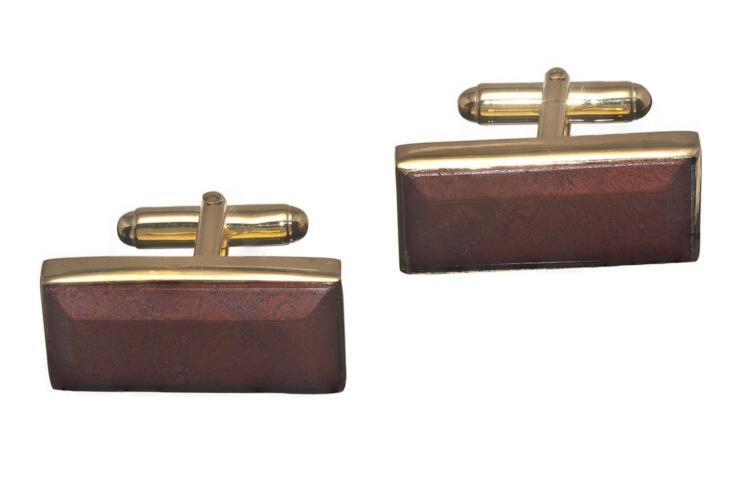 Red Jasper Cufflinks Genuine Gemstone Rectangular Gold Plated Sterling Silver 925