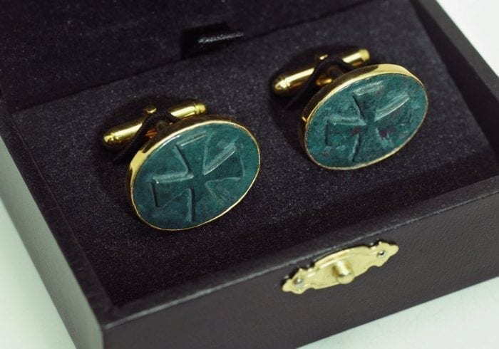 Bloodstone Templar Cross Cufflinks