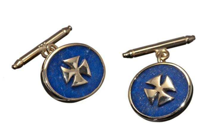 Lapis Templar Cross Cuff Links With Chain And Baton In Gold Plated Sterling Silver 925