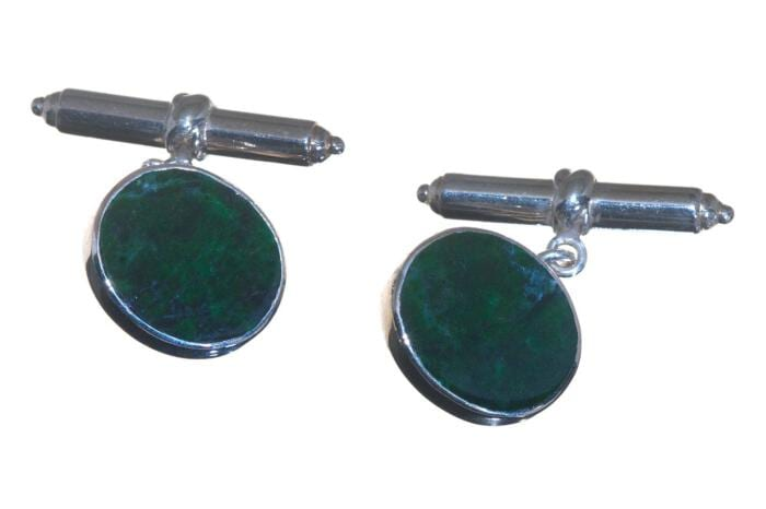 Jade Cufflinks With Chain And Baton In Sterling Silver 925