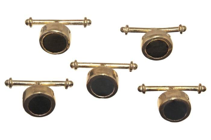 Tuxedo Black Onyx Shirt Studs Special Regnas Genuine Gemstone Gold Plated Sterling Silver 925