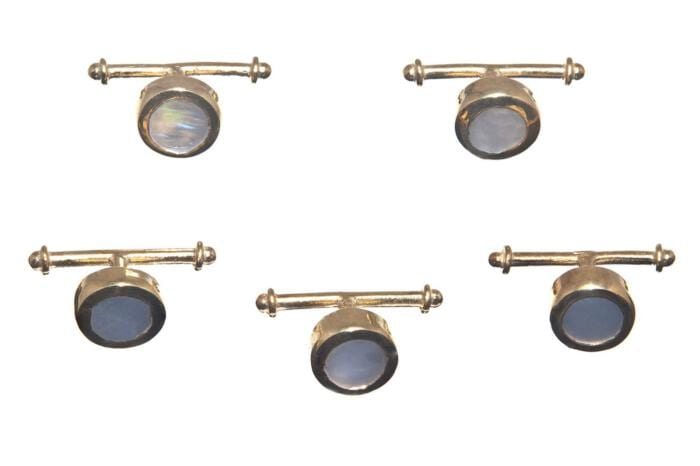 Tuxedo Mother Of Pearl Shirt Studs Special Regnas Genuine Gemstone Gold Plated Sterling Silver 925