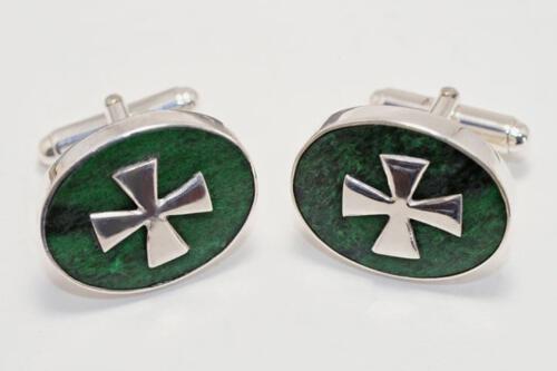 Jade Templar Cufflinks - Sterling Silver 925