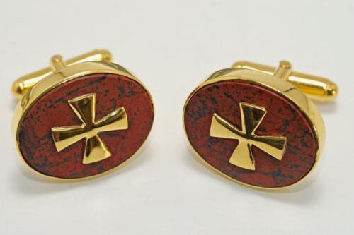 Red Jasper Templar Cross Cufflinks - Gold Plated Sterling Silver