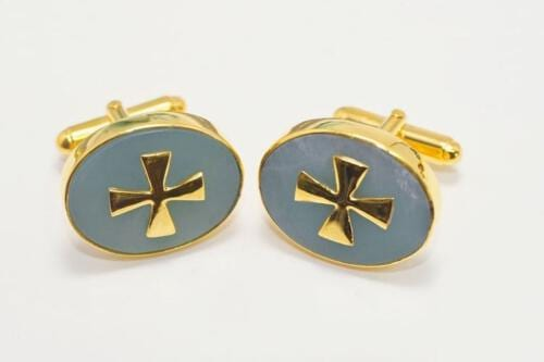 Templar Cross Cufflinks Genuine Gemstone Rare Aventurine