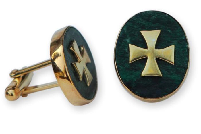 Jade Templar Cufflinks Genuine Gemstone Gold Plated Sterling Silver 925