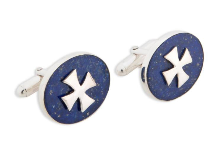 Lapis Templar Cufflinks Genuine Gemstone Sterling Silver 925