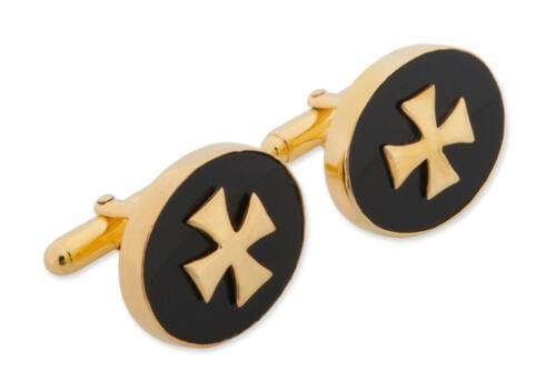 Templar Cross Cufflinks - Black Onyx - Gold Plated Sterling Silver