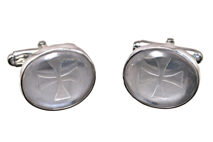 Templar Cross Cufflinks Genuine Rock Crystal Hand Engraved Sterling Silver 925