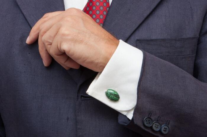 Jade Cufflinks Special Gothic Style Genuine Gemstone Sterling Silver 925