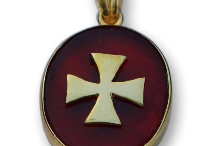 Templar Cross Pendant Genuine Gemstone Red Agate Gold Plated Sterling Silver 925