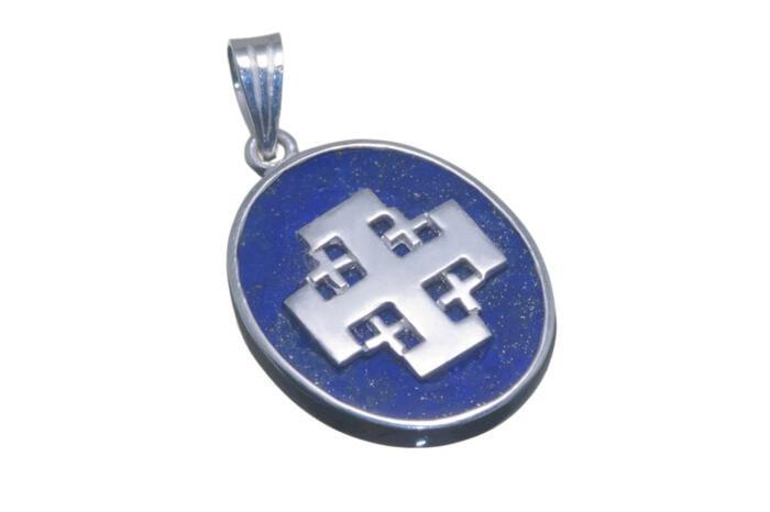Jerusalem Cross Pendant By Regnas Genuine Gemstone Lapis Sterling Silver 925