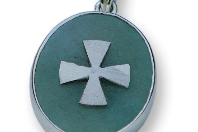 Templar Cross Pendant Genuine Gemstone Chinese Jade Sterling Silver 925