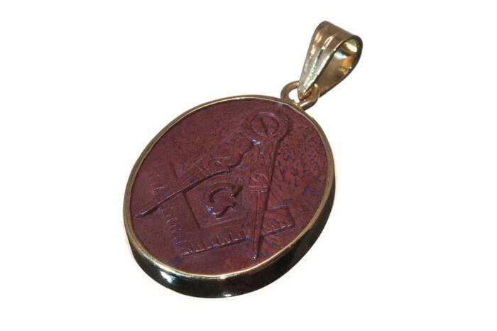 Red Jasper Pendant Carved By Hand Masonic Gold Plated Sterling Silver 925