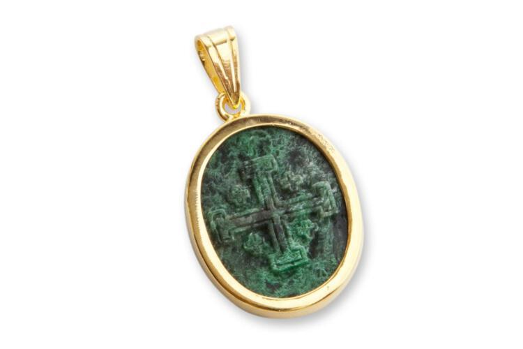 Jade Pendant Rare Jade Albite Hand Carved Jerusalem Cross Gold Plated Sterling Silver 925