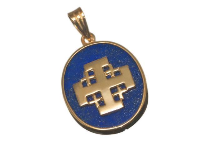 Jerusalem Cross Pendant By Regnas Genuine Gemstone Lapis Gold Plated Sterling Silver 925