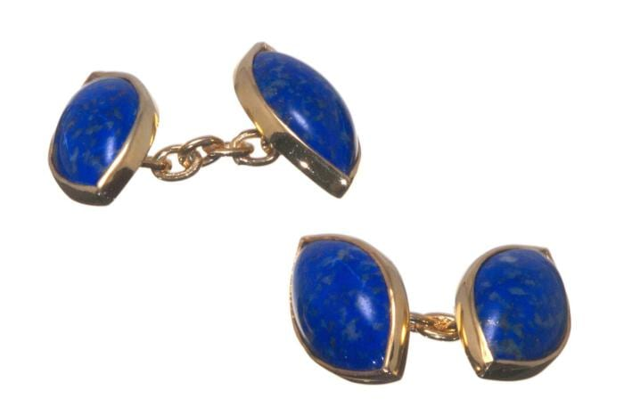 Lapis Cufflinks Double Lozenge Gold Plated Sterling Silver 925