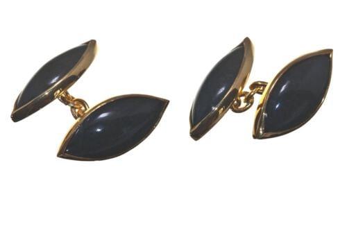 Black Onyx Cufflinks Double Lozenge