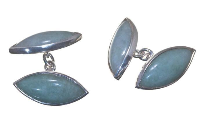 Lavender Jade CuffLinks Double Lozenge Sterling Silver 925