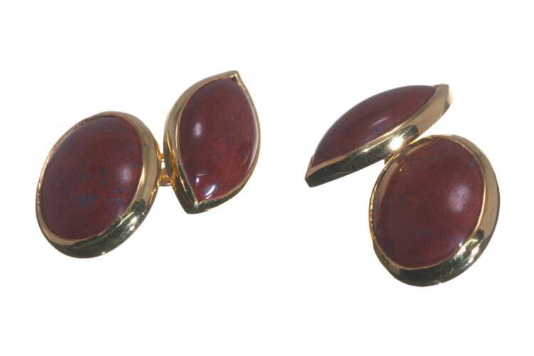Jasper Cufflinks Genuine Gemstone Regnas Mini Double Oval Gold Plated Sterling Silver 925