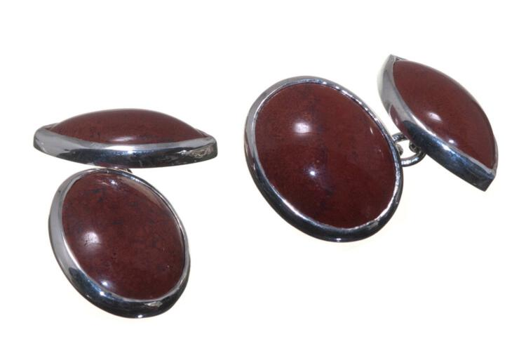 Red Jasper Mini Double Cufflinks - Sterling Silver 925