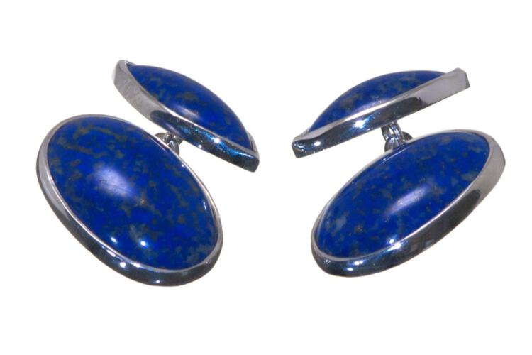 Lapis Cufflinks Double Oval Sterling Silver 925