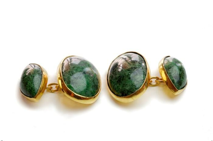 Jade cufflinks - oval and lozenge classic style.