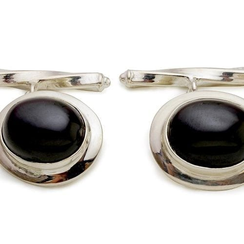 Black cufflinks - Onyx and silver luxury designer cufflinks