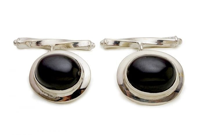 Black cufflinks - Onyx and silver luxury designer cufflinks
