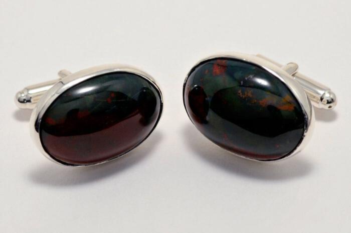 Bloodstone Cufflinks Medium Hand Crafted Oval Regnas Sterling Silver 925