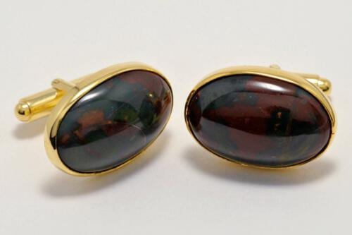 old plated sterling silver bloodstone oval cufflinks