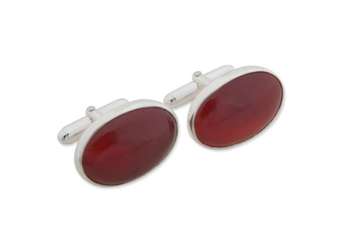 Red Agate Cufflinks Giant Hand Crafted Oval Regnas Sterling Silver 925