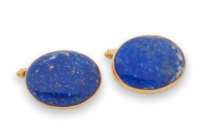 Lapis Cufflinks Genuine Gemstone Cabochon Regnas Gold Plated Sterling Silver 925