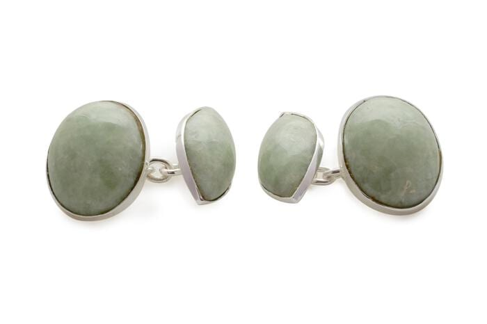 Jade Cufflinks Light Green Double Lozenge Shape Regnas Sterling Silver 925