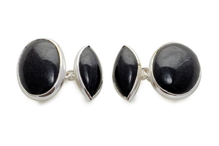 Black Jade Double Oval And Lozenge Cufflinks