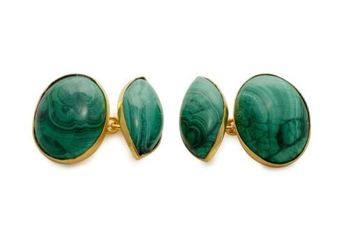 Malachite cufflinks - oval and lozenge gold chain