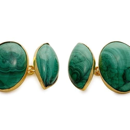 Malachite cufflinks - oval and lozenge gold chain
