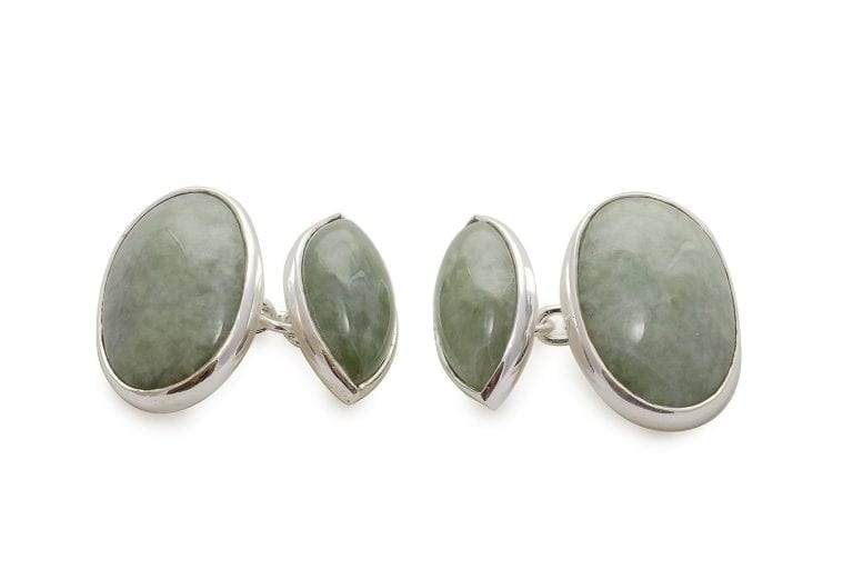 Green Jade Double Oval And Lozenge Shape Cufflinks Regnas Sterling Silver 925