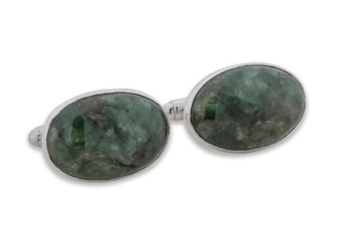 spinach jade cuff links - Regans Jewelry