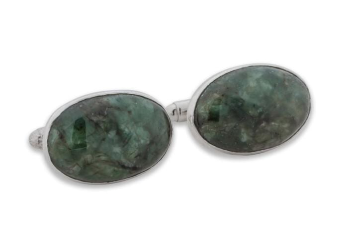 spinach jade cuff links - Regans Jewelry