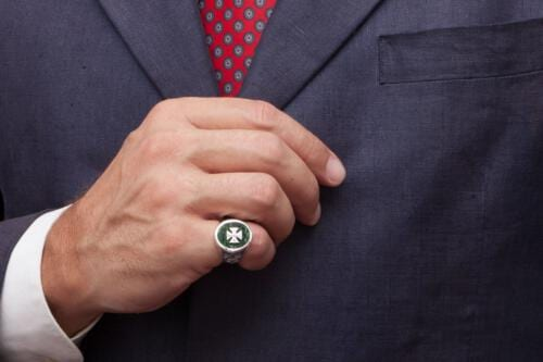Templar Cross Ring Overlaid Jade Albite Sterling Silver 925