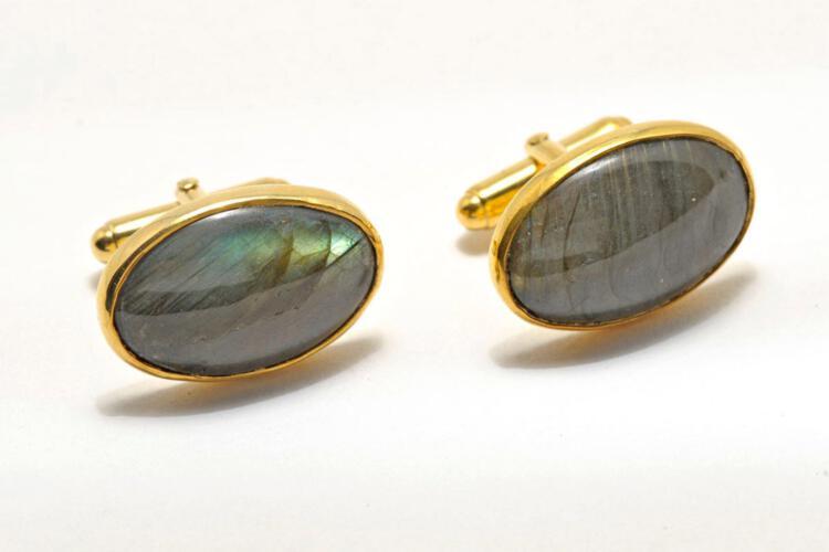 Labradorite Cufflinks Medium Hand Crafted Oval Regnas Gold Plated Sterling Silver 925