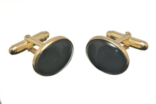 Black Onyx Cufflinks Mini Oval Gold Plated