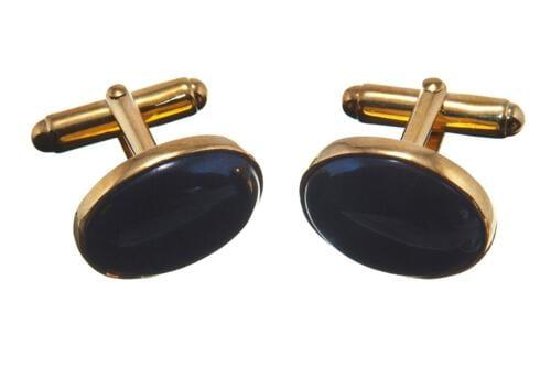 Black Onyx Cufflinks Mini Ovals - Gold Plated