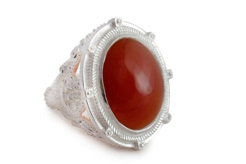 Giant red agate cabochon ring