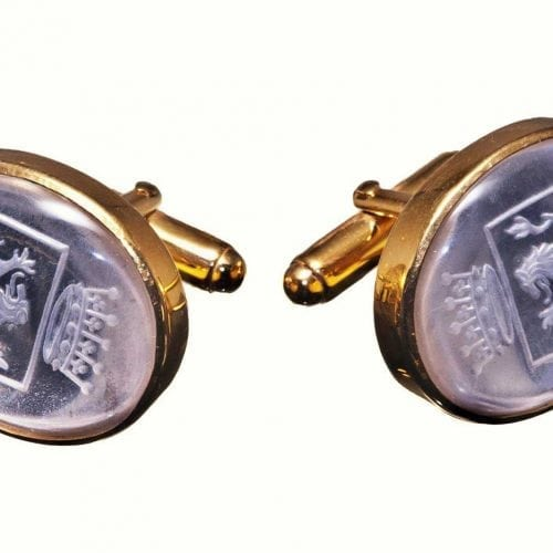 Family crest cufflinks - Rock Crystal - Gold Plated