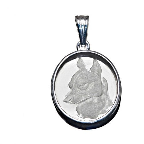 Rock Crystal Pendant of a German Shepherd dog