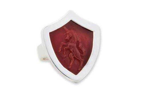 Unicorn Ring - red Agate - Silver shield shape