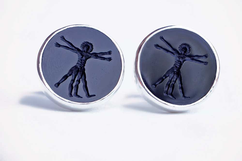 Vitruvian man cufflinks - Regnas Jewelry